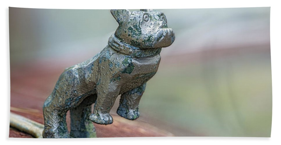 Ornament Hand Towel featuring the photograph Bull Dog Hood Ornament by Linda D Lester