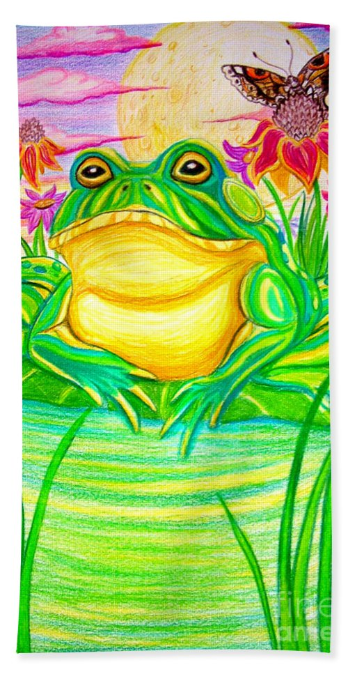 Bull Frog Hand Towel featuring the drawing Bull Frog And The Moon by Nick Gustafson