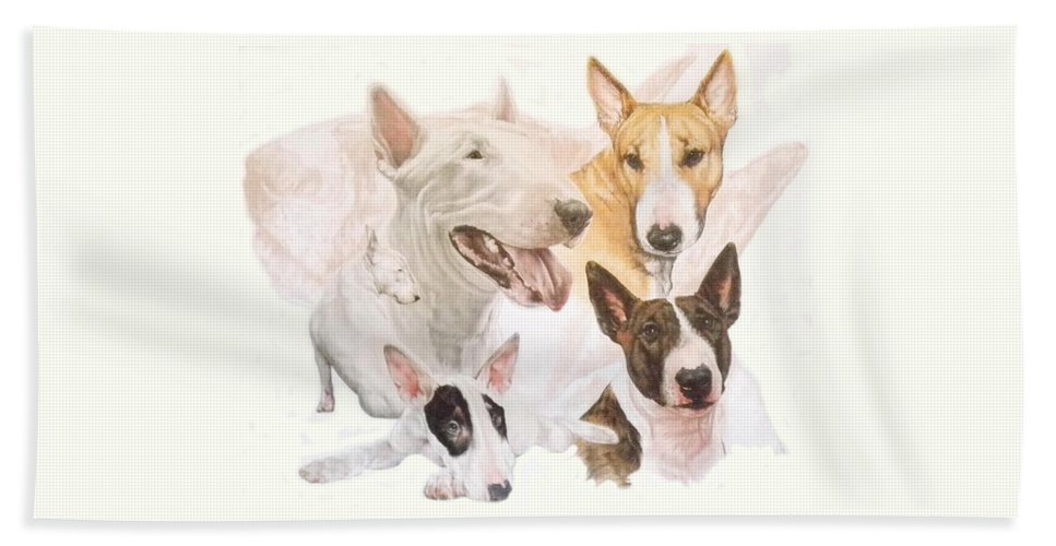 Purebred Bath Towel featuring the mixed media Bull Terrier W/ghost by Barbara Keith