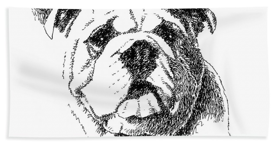 Bulldog Bath Sheet featuring the drawing Bulldog-portrait-drawing by Gordon Punt
