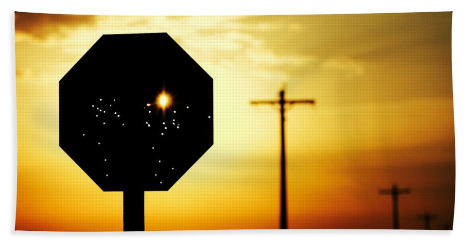 Stop Bath Towel featuring the photograph Bullet-riddled Stop Sign by Todd Klassy