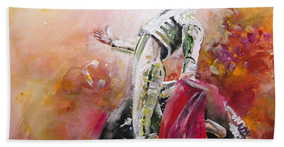 Animals Hand Towel featuring the painting Bullfight 24 by Miki De Goodaboom