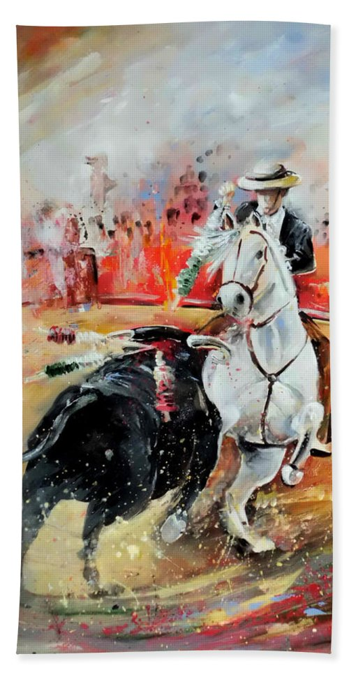 Toros Hand Towel featuring the painting Bullfight 3 by Miki De Goodaboom