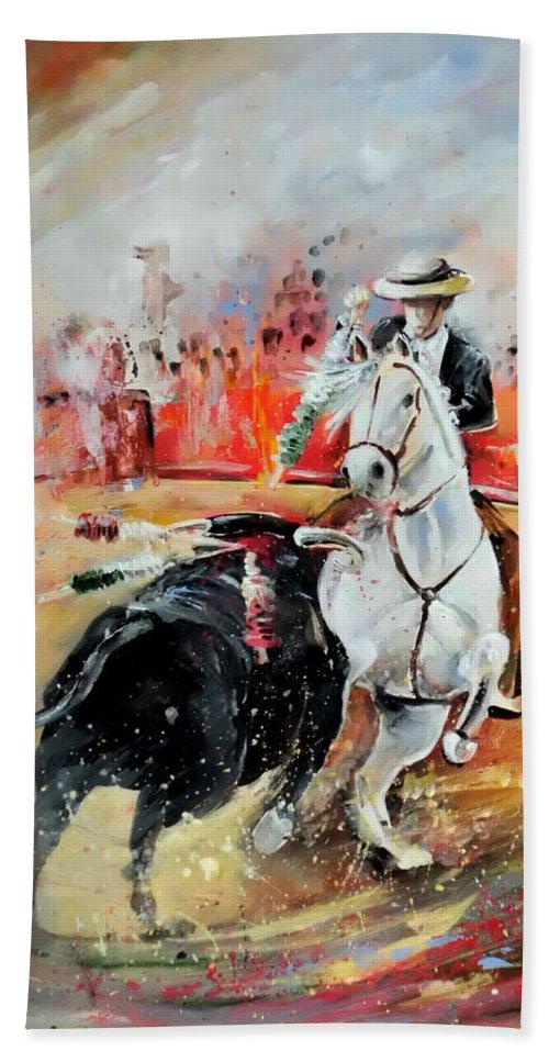 Toros Bath Towel featuring the painting Bullfight 3 by Miki De Goodaboom