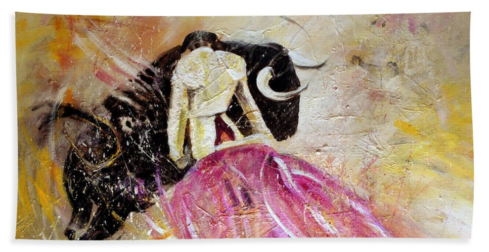 Animals Bath Sheet featuring the painting Bullfight 74 by Miki De Goodaboom