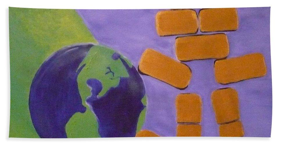 Gold Bath Sheet featuring the painting Bullion Supports The World by Monika Shepherdson