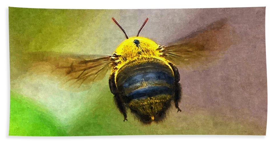 Animal Hand Towel featuring the digital art Bumblebees Flight by Max Steinwald
