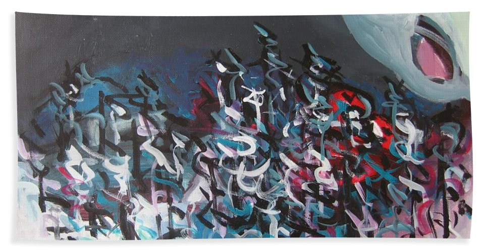 Abstract Paintings Hand Towel featuring the painting Bummer Flat7 by Seon-Jeong Kim