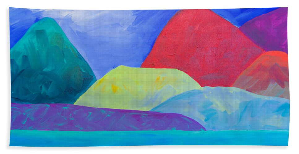 Mountains Bath Sheet featuring the painting Bumps Of West Maui II by Beth Cooper