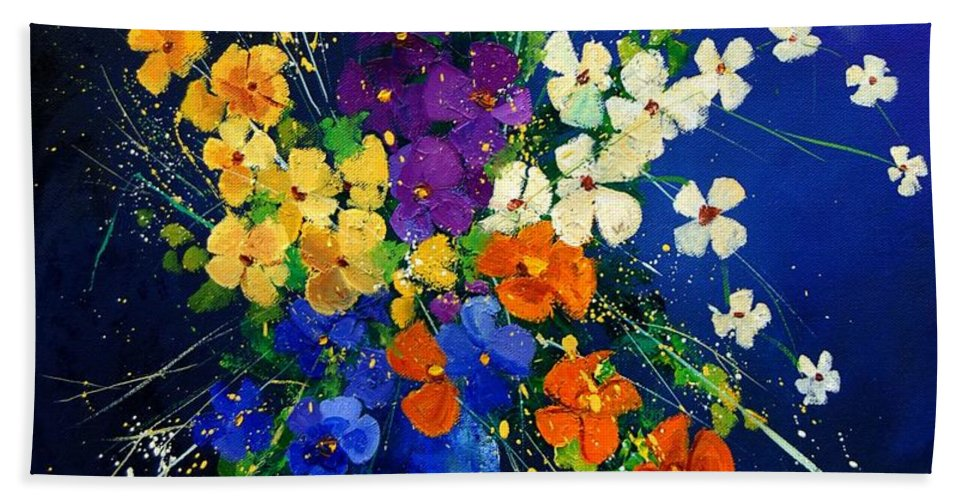 Poppies Hand Towel featuring the print Bunch 0408 by Pol Ledent