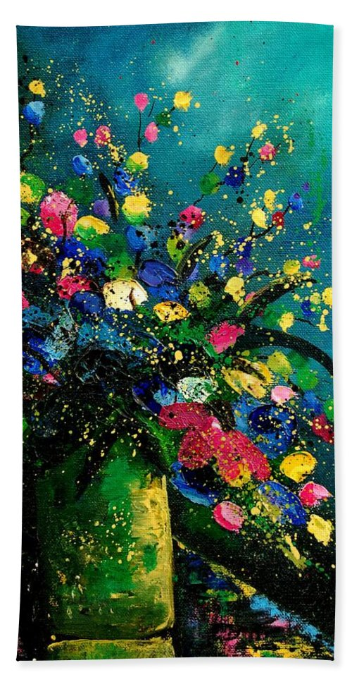 Flowers Hand Towel featuring the painting Bunch 0807 by Pol Ledent