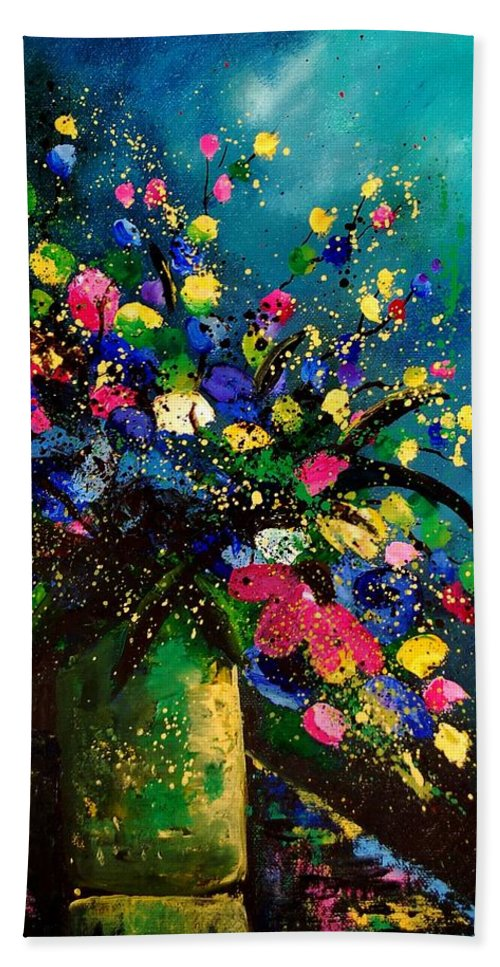 Poppies Bath Towel featuring the painting Bunch 45 by Pol Ledent