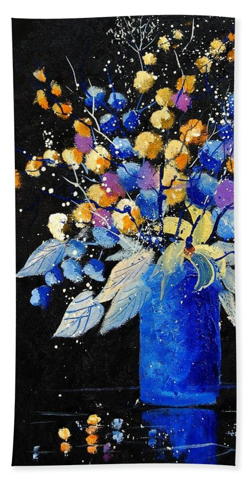 Flowers Bath Sheet featuring the painting Bunch 451008 by Pol Ledent