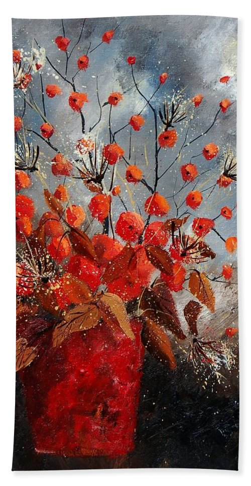 Flowers Bath Sheet featuring the painting Bunch 560608 by Pol Ledent