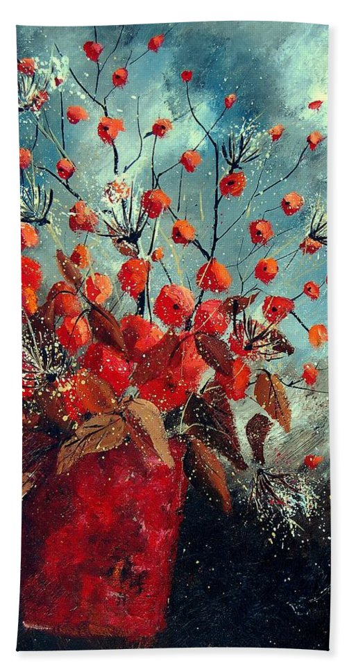 Flowers Hand Towel featuring the painting Bunch 562139854 by Pol Ledent