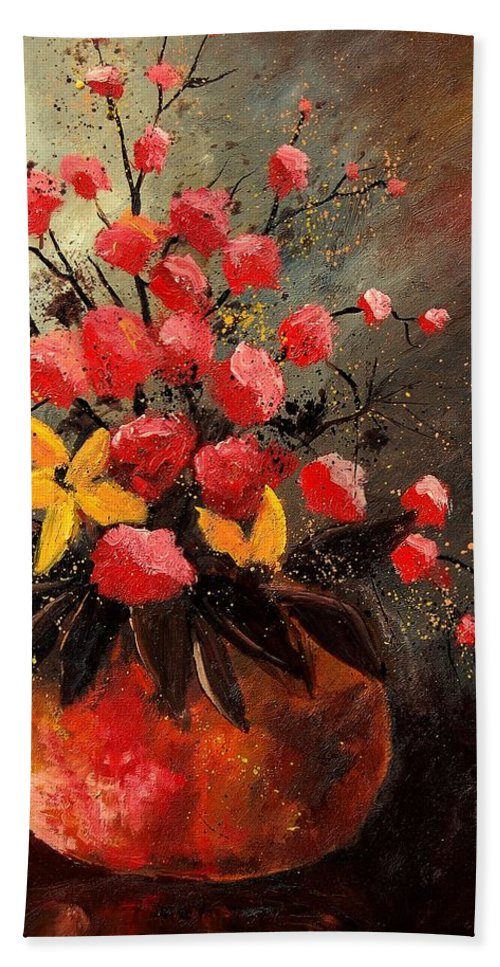 Flowers Bath Towel featuring the painting Bunch 569060 by Pol Ledent