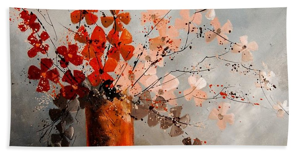 Flowers Bath Sheet featuring the painting Bunch 670908 by Pol Ledent