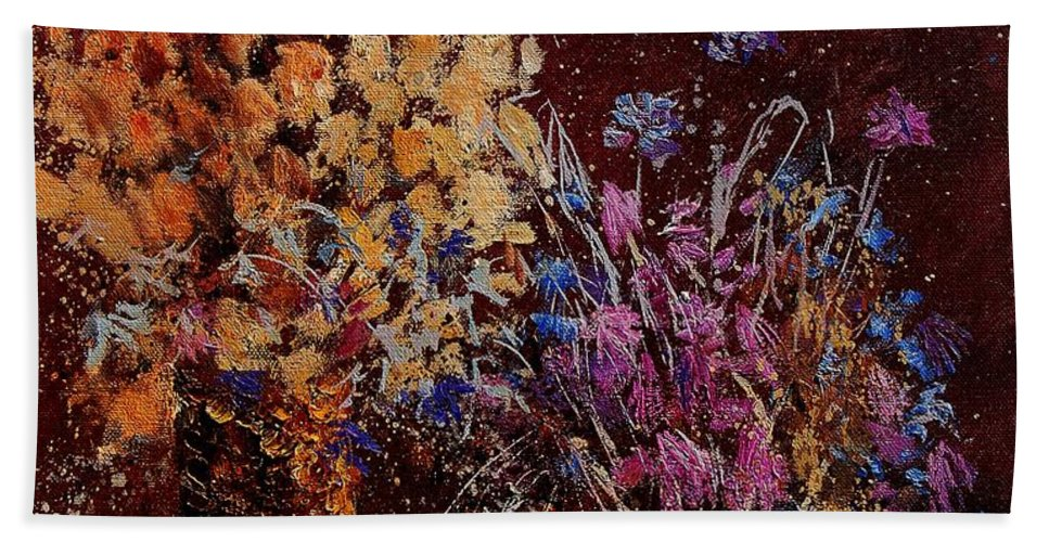 Flowers Hand Towel featuring the painting Bunch Of Dried Flowers by Pol Ledent