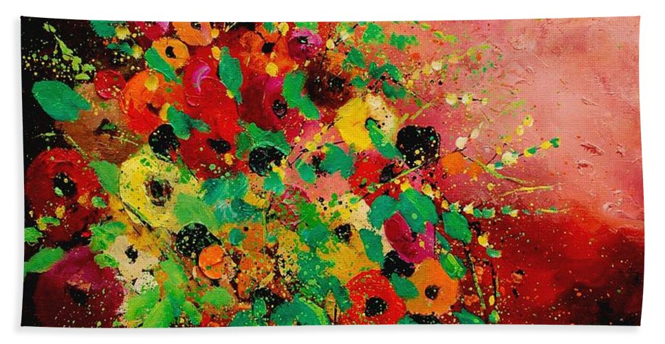 Flowers Hand Towel featuring the painting Bunch of flowers 0507 by Pol Ledent
