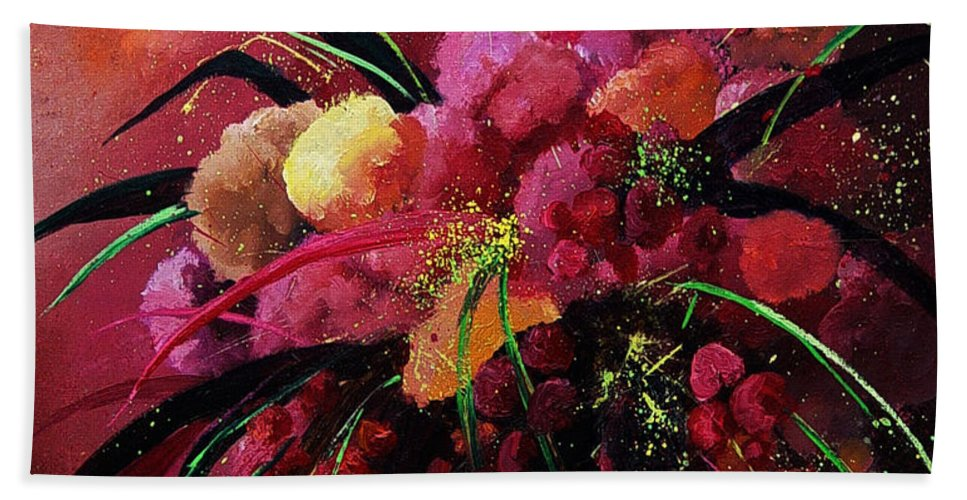 Flowers Hand Towel featuring the painting Bunch Of Red Flowers by Pol Ledent