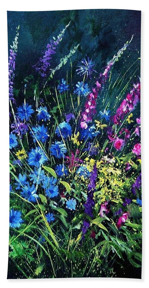 Poppies Bath Towel featuring the painting Bunch Of Wild Flowers by Pol Ledent