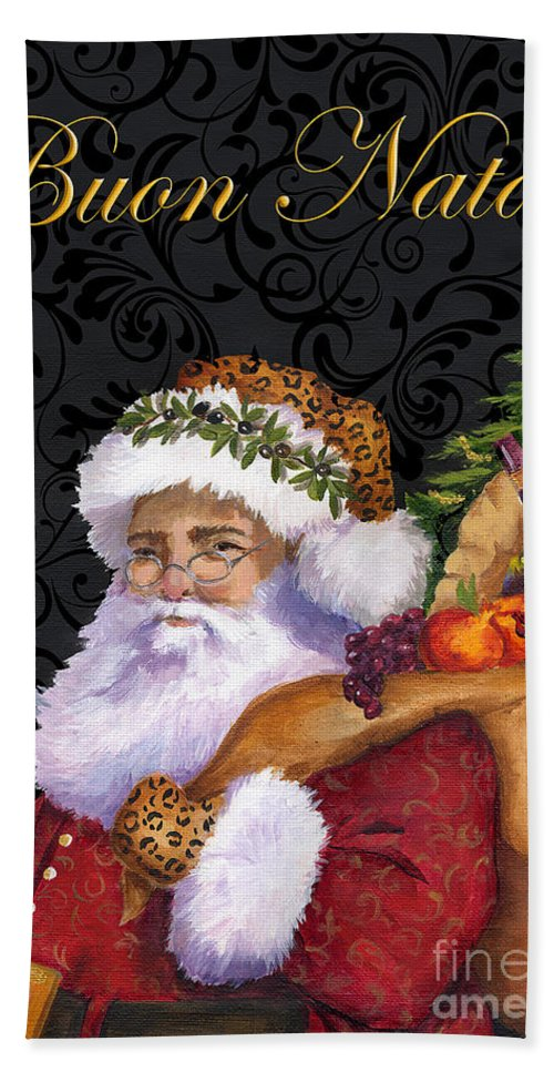 Christmas Santa Bath Sheet featuring the painting Buon Natale by Cat Hartgraves