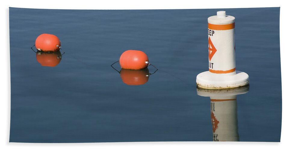 Chicago Windy City Buoy Water Lake Michigan Blue Reflection Mirror Orange Hand Towel featuring the photograph Buoy by Andrei Shliakhau