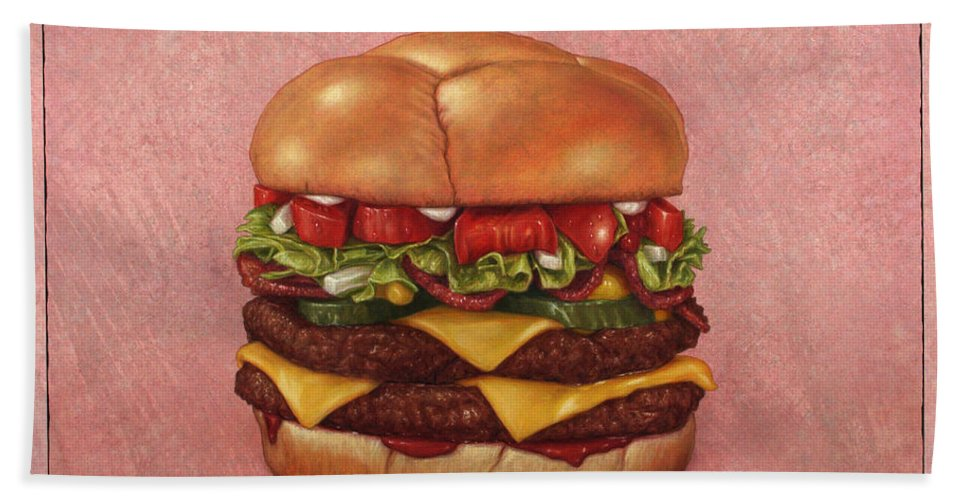 Burger Hand Towel featuring the painting Burger by James W Johnson