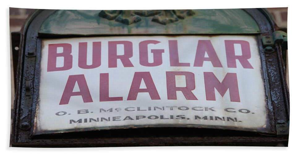Burglar Alarm Hand Towel featuring the photograph Burglar Alarm by Lauri Novak