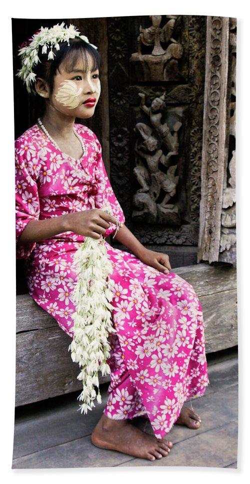 075burma's Golden Pagodaasia Hand Towel featuring the photograph Burmese Flower Vendor by Michele Burgess