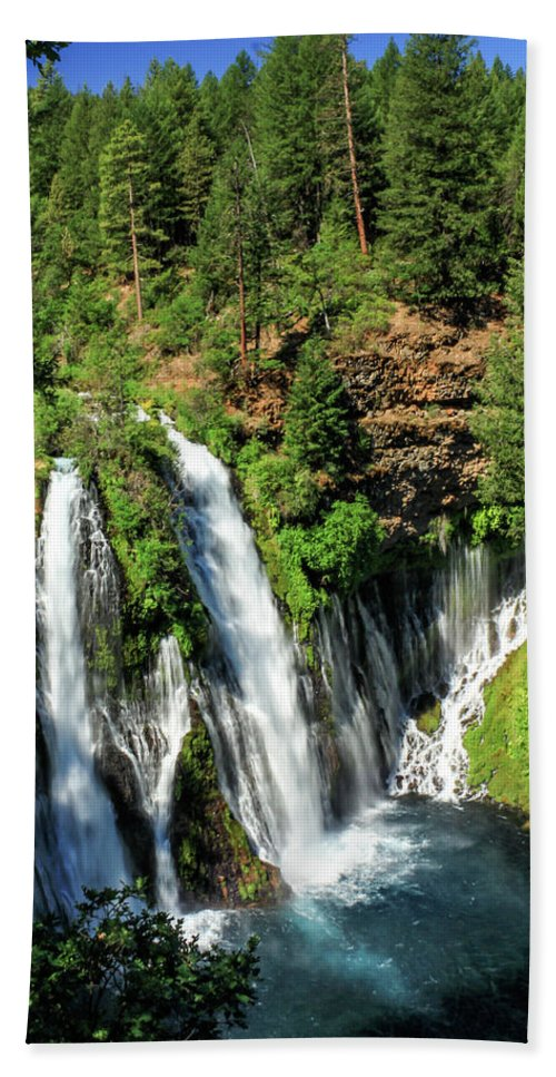 Landscape Hand Towel featuring the photograph Burney Falls by James Eddy