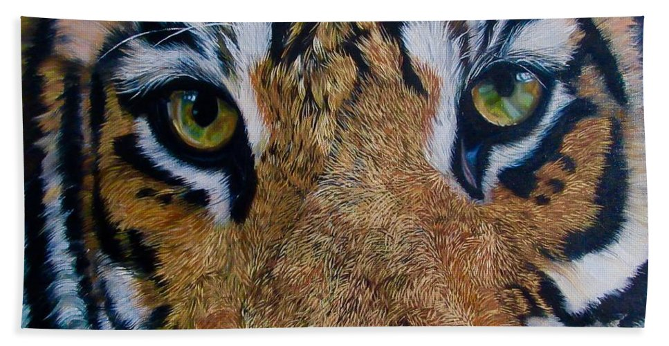 Animal Portrait Hand Towel featuring the painting Burning Bright by Aparna Patil