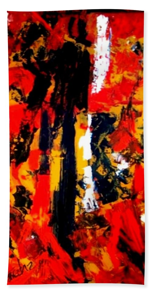 Oil Painting Bath Sheet featuring the painting Burning Bright by Fareeha Khawaja