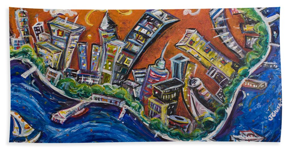 New York City Manhattan Hudson River Hand Towel featuring the painting Burning City by Jason Gluskin