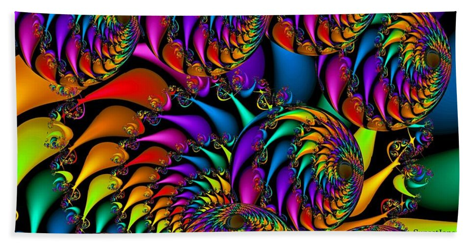 Colorful Bath Towel featuring the digital art Burning Embers- by Robert Orinski
