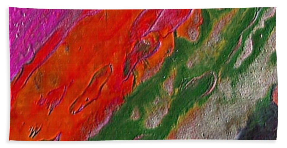 Abstract Encaustic Painting Hand Towel featuring the painting Burning Lava by Dragica Micki Fortuna