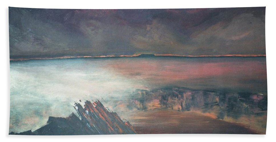 Lanscape Mountain Fire Desire Hand Towel featuring the painting Burning Soul by Peta Mccabe