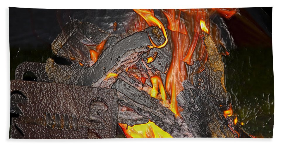 Burn Hand Towel featuring the photograph Burning by Terry Anderson