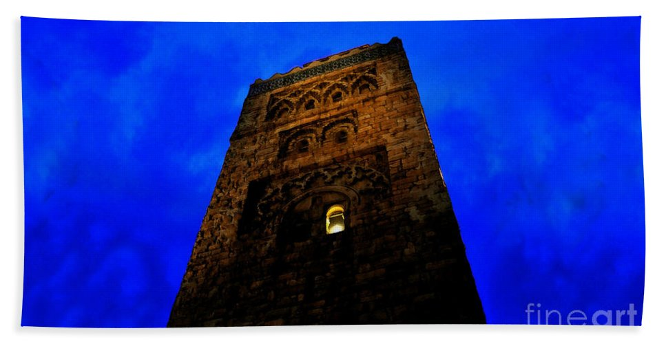 Castle Hand Towel featuring the painting Burning The Midnight Oil by David Lee Thompson