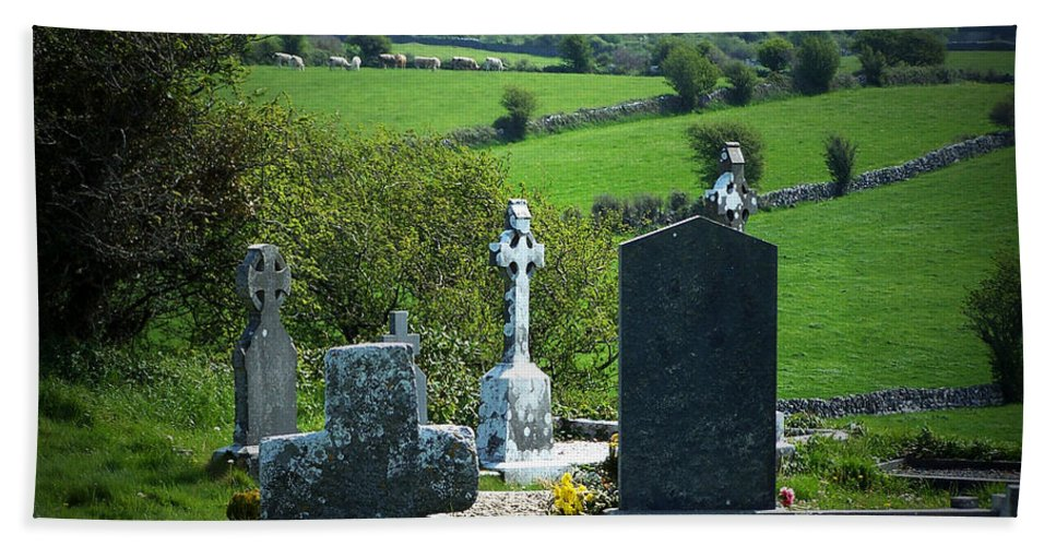 Irish Bath Towel featuring the photograph Burren Crosses County Clare Ireland by Teresa Mucha
