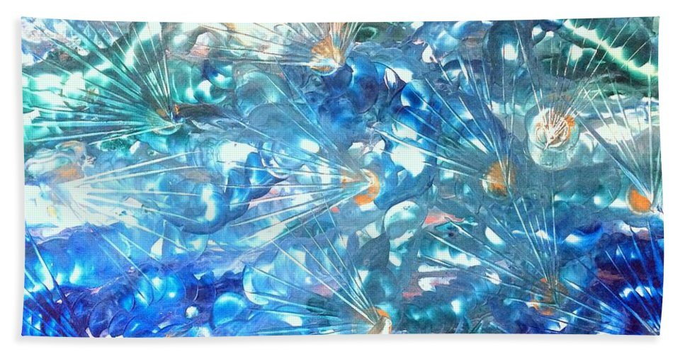 Encaustic Hand Towel featuring the painting Burst by Christine Johanns