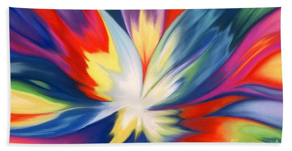 Abstract Bath Towel featuring the painting Burst Of Joy by Lucy Arnold