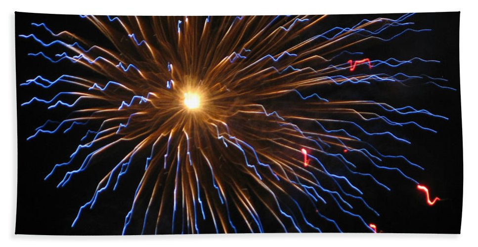 Fireworks Hand Towel featuring the photograph Bursting In Air by M E Cieplinski