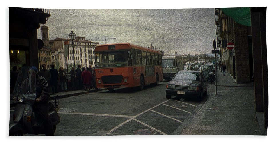 Canvas Prints Hand Towel featuring the photograph Bus Stop by Maria Reverberi