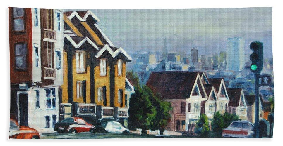 Cityscape Bath Towel featuring the painting Bush Street by Rick Nederlof