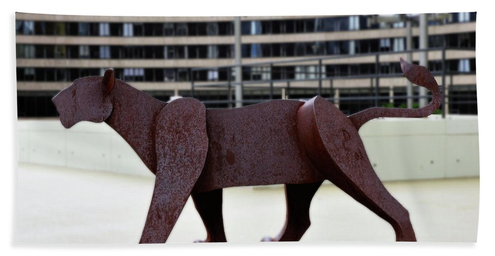 Lion Bath Sheet featuring the photograph Bushnell Lion by Tom Cruickshanks