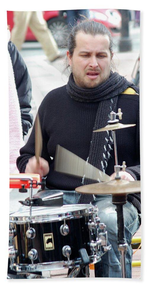 Man Bath Sheet featuring the photograph Busking Drummer by John Hughes