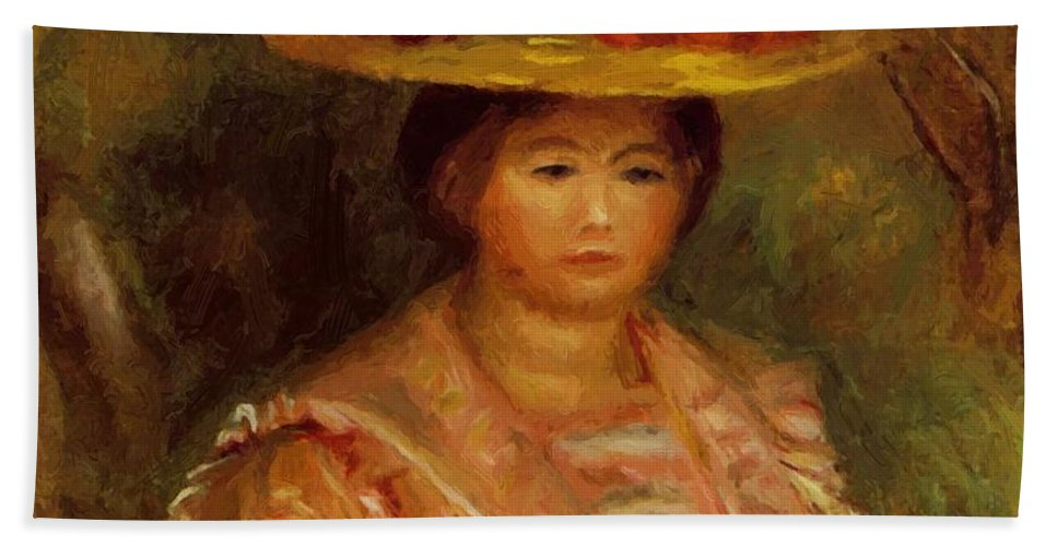 Bust Hand Towel featuring the painting Bust Of A Woman Gabrielle by Renoir PierreAuguste