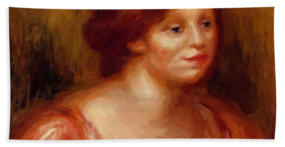 Bust Hand Towel featuring the painting Bust Of A Woman In A Red Blouse by Renoir PierreAuguste
