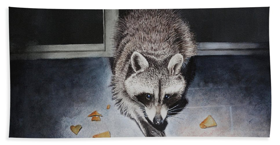 Raccoon Bath Sheet featuring the painting Busted by Robbie Fitzpatrick
